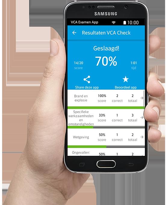 Slagen met VCA examen app voor proefexamens